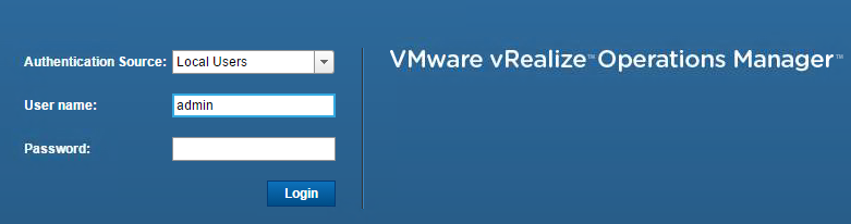 Logon to vROps using the admin credentials