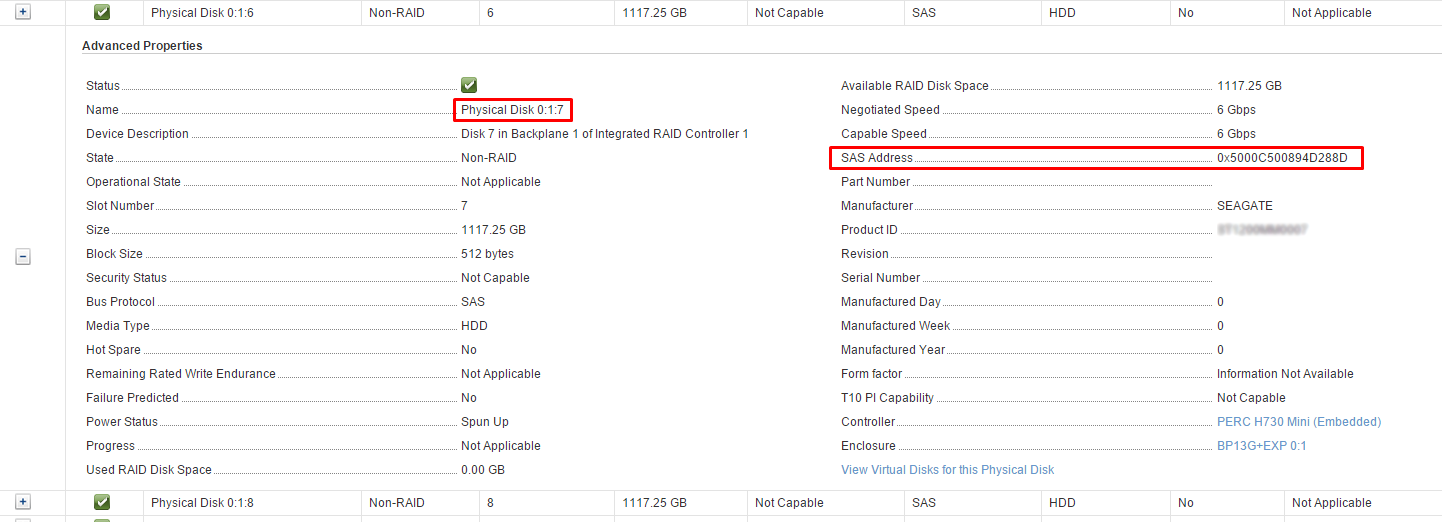 """SAS Adrress"" and Bay number in DELL server"