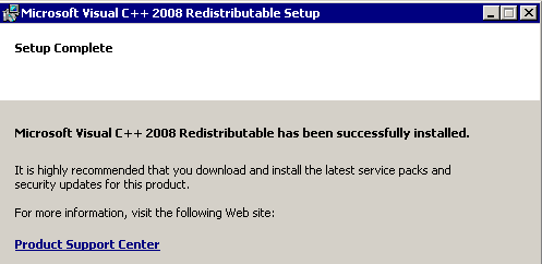 Visual C++ Redistributable - installation completed